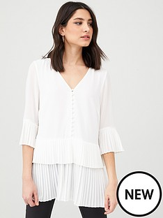 v-by-very-essential-pleated-button-detail-tunic-ivory