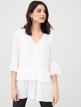 V By Very Essential Pleated Button Detail Tunic - Ivory