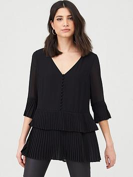 V by Very V By Very Essential Pleated Button Detail Tunic - Black Picture