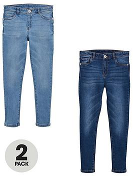 V by Very V By Very Girls 2 Pack Skinny Jeans - Blue Picture
