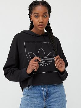 adidas Originals Adidas Originals Crop Hoodie - Black Picture