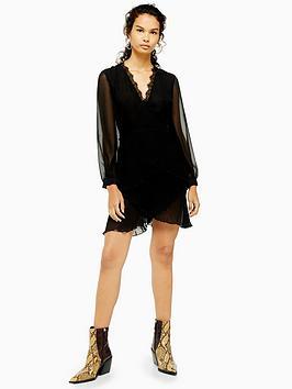 topshop-pleated-ruffle-mini-dress-black