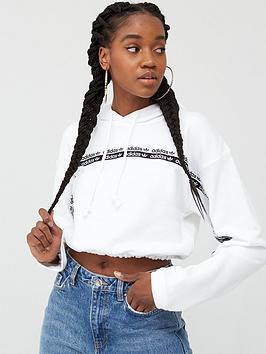 adidas Originals  Adidas Originals Cropped Hoodie - White