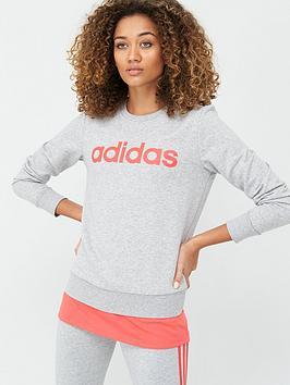 Adidas   Essentials Linear Sweatshirt - Medium Grey Heather