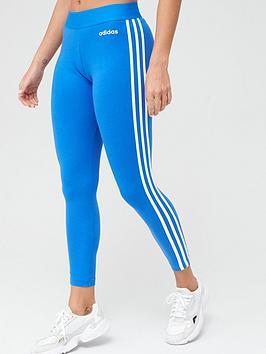 Adidas   Essentials 3 Stripe Leggings - Blue