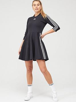 Adidas   3 Stripe Skater Dress - Black