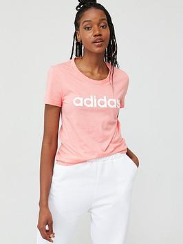 Adidas   Essentials Linear Slim T-Shirt - Pink
