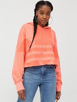 adidas Originals  Adidas Originals Large Logo Cropped Hoodie - Pink