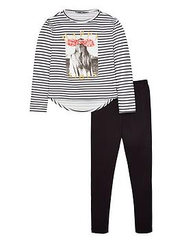 V by Very V By Very Girls Stripe Applique Jersey Top And Leggings Set -  ... Picture