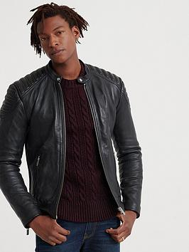 Superdry Superdry City Hero Leather Racer Jacket - Black Picture