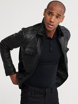 Superdry Superdry Icon Brad Leather Jacket - Black Picture