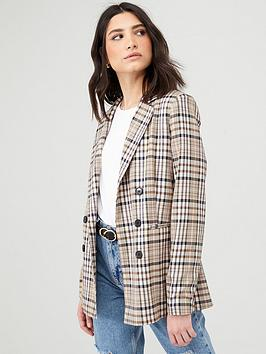 V by Very V By Very Checked Double Breasted Blazer - Multi Picture