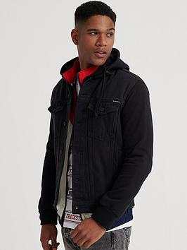 Superdry Superdry Hooded Highwayman Trucker Jacket - Black Picture