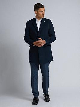 Burton Menswear London Faux Wool Coat - Navy