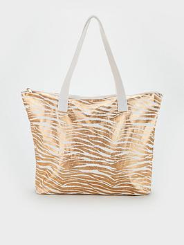 V By Very Joley Canvas Bag - Gold