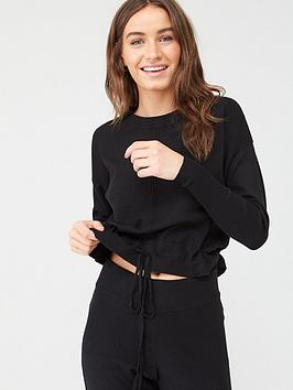 v-by-very-knitted-sweat-top-with-hem-drawstring-black