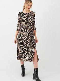 wallis-zebra-jersey-midi-dress-multi