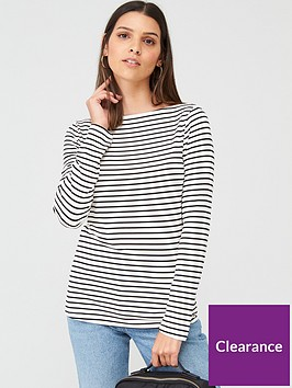 warehouse-stripe-slash-neck-long-sleeve-top-mono