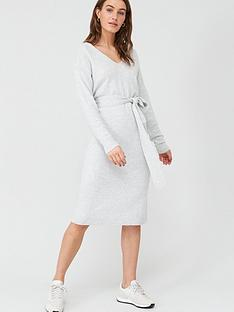 v-by-very-tie-waist-v-neck-knitted-dress-grey-marl