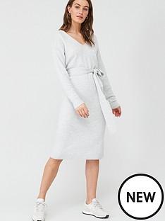 v-by-very-tie-waist-v-neck-knitted-dress-grey-marl
