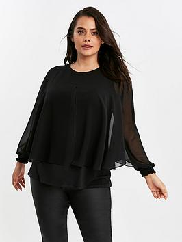 Evans Evans Black Split Front Overlayer Blouse Picture