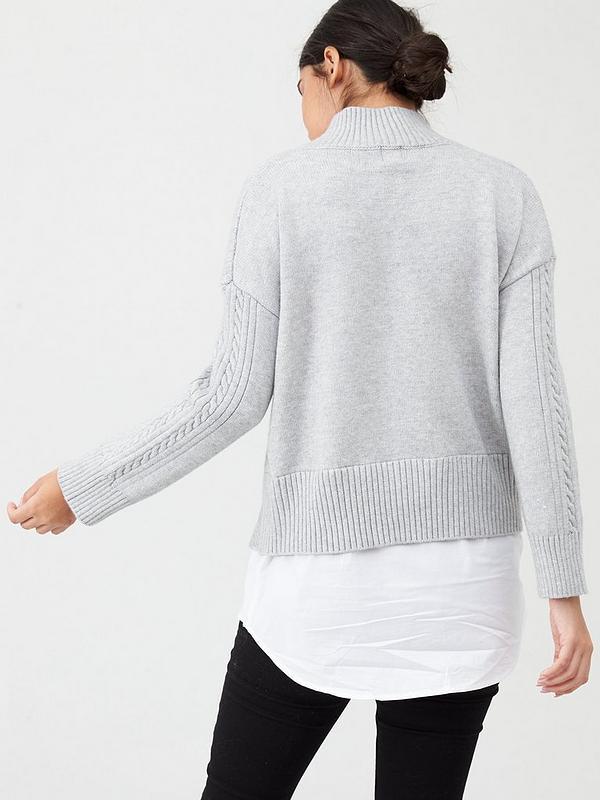 RIver Island Cable Knit Shirt Hem Jumper Grey