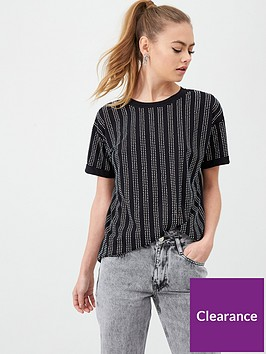 river-island-river-island-diamante-stripe-loose-fit-t-shirt-black