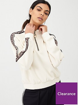 river-island-ri-tape-half-zip-sweat-top-cream