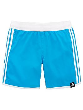 Adidas   3 Stripe Swim Shorts - Blue