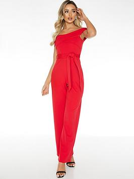 Quiz Quiz Wrap Top Tie Waist Palazzo Jumpsuit - Red Picture