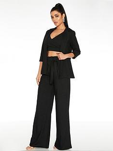 quiz-shine-tie-waist-palazzo-trouser-black