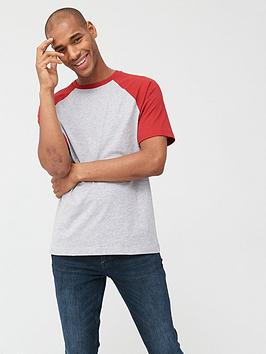 V by Very V By Very Raglan T-Shirt - Grey/Red Picture