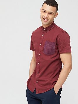 V by Very V By Very Short Sleeve Stretch Pocket Print Shirt - Burgundy Picture