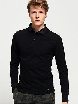 Superdry Superdry Edit Long Sleeved Polo Shirt - Black Picture
