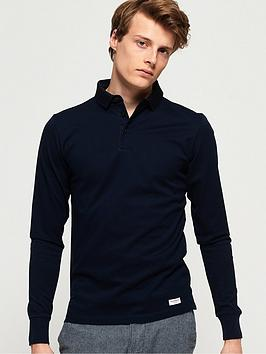 Superdry Edit Long Sleeve Polo Shirt - Navy