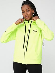 dkny-sport-zip-through-shadow-logo-hoodie-yellow
