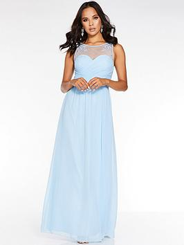 Quiz Quiz Chiffon High Neck Embellished Bridesmaid Maxi Dress - Blue Picture