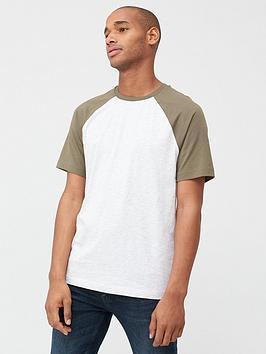 V by Very V By Very Raglan T-Shirt - White/Khaki Picture