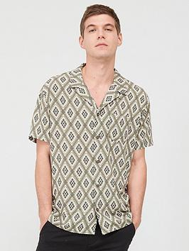 V by Very V By Very Short Sleeved Diamond Tile Printed Shirt - Khaki Picture
