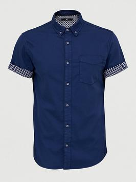 V by Very V By Very Short Sleeve Stretch Turn Up Print Shirt - Navy Picture
