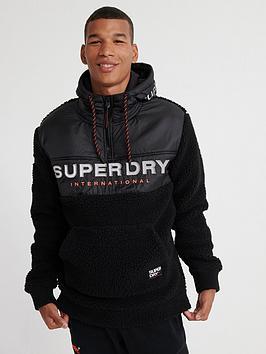 Superdry Superdry Sherpa Worldwide Stealth Half Zip Hoodie - Black Picture