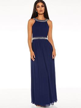 Quiz Quiz Chiffon Beaded High Neck Sleeveless Embellished Maxi Dress - Navy Picture