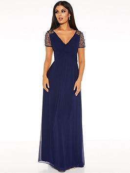 Quiz Quiz Chiffon Wrap Embellished Cap Sleeve Bridesmaid Maxi Dress - Navy Picture