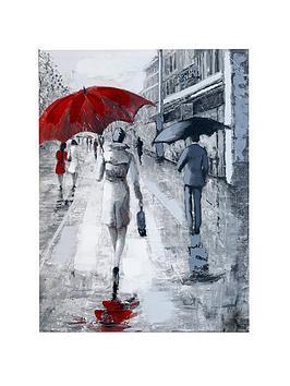 ARTHOUSE  Arthouse  Rainy Street Scene Hand-Painted Canvas Wall Art