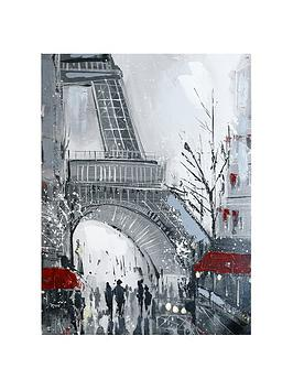 ARTHOUSE  Arthouse Eiffel Tower Hand-Painted Canvas Wall Art