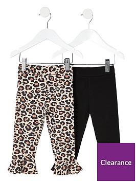 river-island-mini-girls-2-pack-leopard-flute-hem-leggings-brownblack
