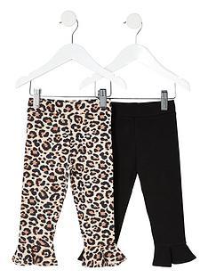 river-island-mini-mini-girls-2-pack-leopard-flute-hem-legging--brownblack