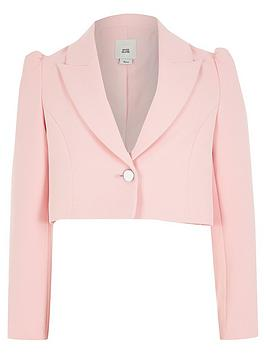 River Island River Island Girls Puff Sleeve Cropped Blazer - Pink Picture
