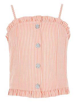 River Island River Island Girls Stripe Diamante Buton Cami Top - Pink Picture