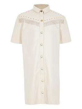 River Island River Island Girls Faux Leather Fringe Dress-Cream Picture